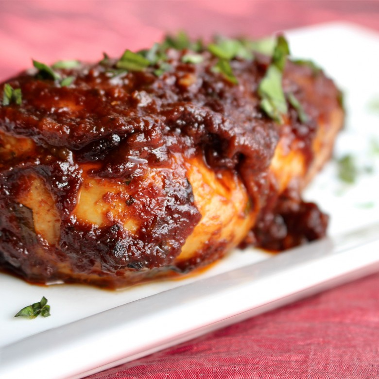 """9 ½ Weeks"" Basil & Honey Balsamic Glazed Chicken"