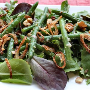 """He's a Keeper"" Warm French Green Bean Salad with Toasted Walnuts & Crispy Shallots"
