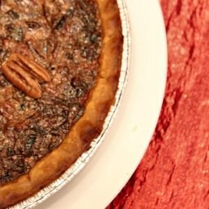 Pecan Pie and a steaming cup of Vanilla Café au Lait