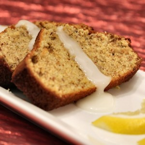 Pistachio-Cardamom Pound Cake with Lemon Glaze and Indian Railway Chai Tea