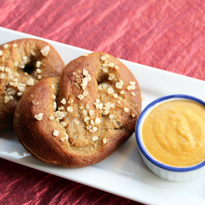 """Twist Myself Into a Pretzel To Make You Happy"" Warm Soft Pretzels with Cheese Mustard Dipping Sauce"
