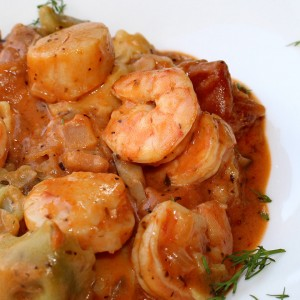 Heart-shaped Pasta with Shrimp and Scallops in a Champagne Rose Sauce
