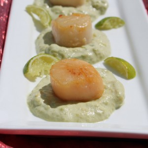 """You Can Leave Your Hat On"" Seared Scallops Over Avocado and Wasabi Cream"