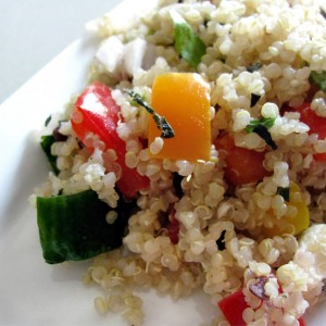 """But I Would Rather You Let Me Give My Heart"" Toasted Quinoa Grecian Salad"