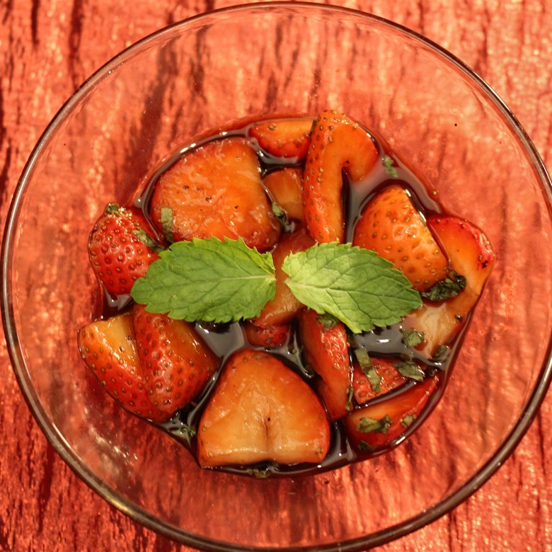 """Held My Own (thank goodness)"" Minted Balsamic Strawberries"