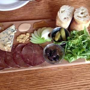 """A Dream Come True"" Cheese Board with cheese, charcutrie, gherkins & Spanish almonds and savoury something baked"