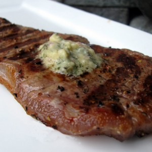 """Priceless"" Grilled Sirloin Steak with Bernaise Butter & Sautéed Mushrooms"