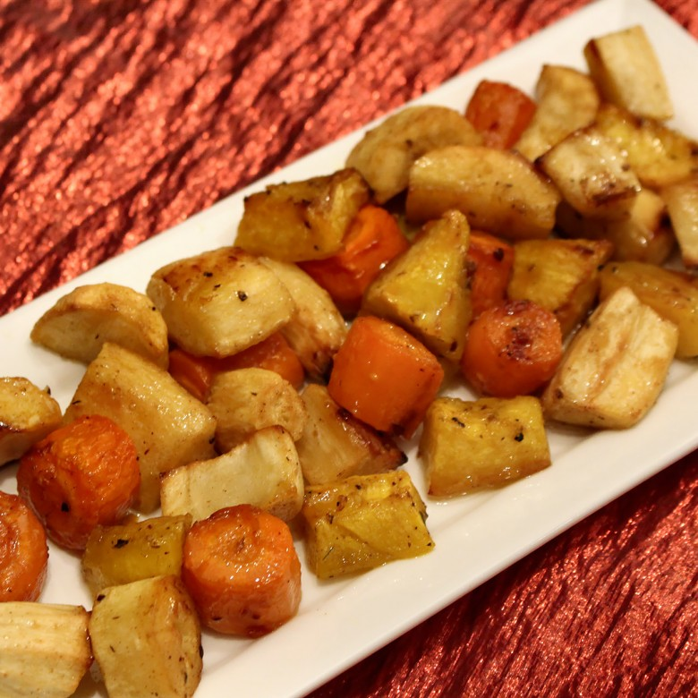 """Deck the Halls"" Maple Glazed Root Vegetable Medley"