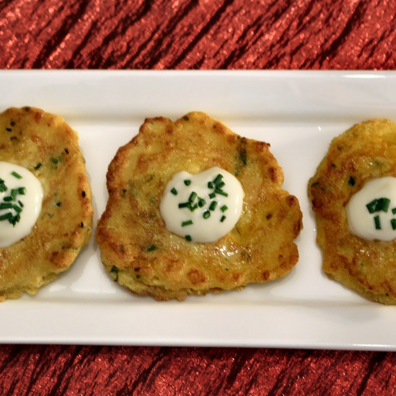 """""""Please Be Waiting For Me Baby When I Come Around"""" Spicy Smoked Salmon Corn Cakes with Crème Fraiche"""
