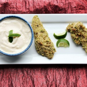 """Simply Irresistible"" Pistachio Crusted Chicken Tenders with Chipotle Dipping Sauce"