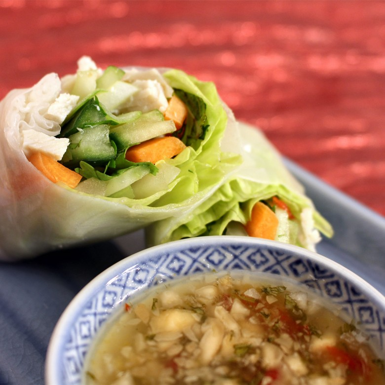 Hand-rolled Cold Rice Paper Spring Rolls with Peanut Dipping Sauce, Lemon Lime Dipping Sauce, Chili Sauce, Hoisin Sauce