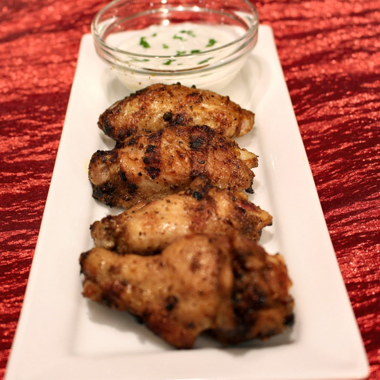 Fullback Finger Lickin' Baked BBQ Wings with Blue Cheese Dip (a 'must' at a Super Bowl party)