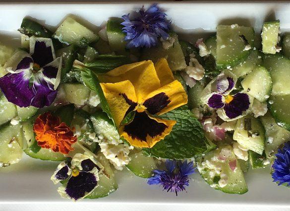 Clarity Cucumber, Feta Herb Floral Bouquet Salad.