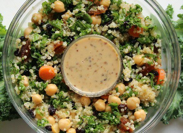 Kick Back Quinoa Kale Currant Bowl with Tahini-Turmeric Dressing.