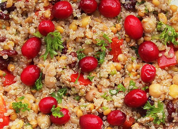 Veg Out Warm Quinoa, Cranberry, Red Pepper Salad with Pomegranate.